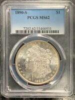 1890-S U.S. MORGAN SILVER DOLLAR  PCGS GRADED MINT STATE 62 $2.95 MAX SHIPPING