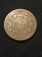 1866 2 CENT PIECE CIRCULATED CONDITION,  LOOKING COIN