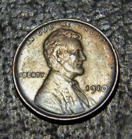 1910 LINCOLN WHEAT CENT.  AU/UNC BETTER DATE WITH GREAT TONING