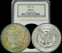 XXXX 1886 MORGAN SILVER DOLLAR NGC MINT STATE 63 BROWN/TURQUOISE TONED