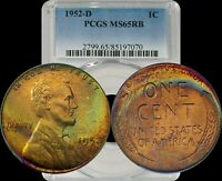 1952-D LINCOLN WHEAT CENT PCGS MINT STATE 65RB LIGHT MULTI COLOR TONED PENNY