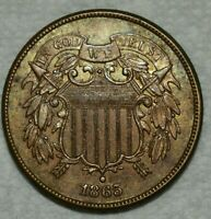 UNCIRCULATED 1865 FANCY 5 TWO CENT PIECE  SHARP LUSTROUS SPE