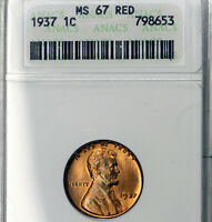 1937-P MINT STATE 67 RED RD LINCOLN WHEAT CENT 1C, ANACS GRADED