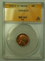 1930-S LINCOLN WHEAT CENT 1C ANACS MINT STATE 64 RB WW