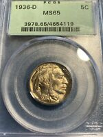 PCGS MS 65 1936 D BUFFALO NICKEL OGH  INCREDIBLE LUSTER