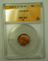 1930-S LINCOLN WHEAT CENT 1C ANACS MINT STATE 64 RB E WW