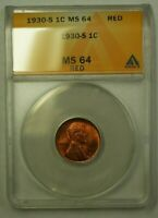 1930-S LINCOLN WHEAT CENT 1C ANACS MINT STATE 64 RED B WW