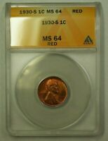 1930-S LINCOLN WHEAT CENT 1C ANACS MINT STATE 64 RED E WW