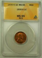 1930-S LINCOLN WHEAT CENT 1C ANACS MINT STATE 65 RED H WW