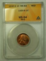 1930-S LINCOLN WHEAT CENT 1C ANACS MINT STATE 64 RED S WW