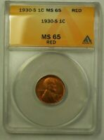 1930-S LINCOLN WHEAT CENT 1C ANACS MINT STATE 65 RED G WW