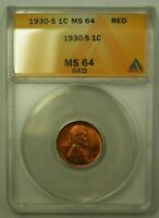 1930-S LINCOLN WHEAT CENT 1C ANACS MINT STATE 64 RED L WW