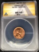 1949-S DDO FS-101 ANACS MINT STATE 65 RED