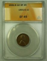 1931-S LINCOLN WHEAT CENT 1C ANACS EF-45 A WW