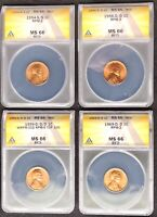 1954-S/S, 1956-D/D, 1959-D/D/D, 1969-D/D LINCOLN CENT RPM SET- ALL MINT STATE 66 RED