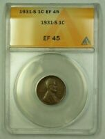 1931-S LINCOLN WHEAT CENT 1C ANACS EF-45 J WW