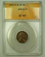 1931-S LINCOLN WHEAT CENT 1C ANACS EF-45 L WW