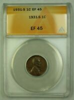 1931-S LINCOLN WHEAT CENT 1C ANACS EF-45 Q WW