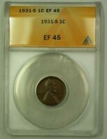 1931-S LINCOLN WHEAT CENT 1C ANACS EF-45 S WW