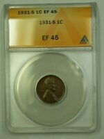 1931-S LINCOLN WHEAT CENT 1C ANACS EF-45 T WW