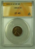 1931-S LINCOLN WHEAT CENT 1C ANACS EF-45 U WW