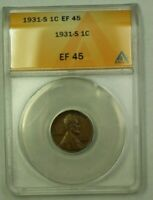 1931-S LINCOLN WHEAT CENT 1C ANACS EF-45 Y WW