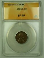 1931-S LINCOLN WHEAT CENT 1C ANACS EF-45 Z WW