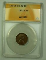 1931-S LINCOLN WHEAT CENT 1C ANACS AU-50 F WW