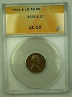 1931-S LINCOLN WHEAT CENT 1C ANACS AU-50 G WW