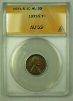 1931-S LINCOLN WHEAT CENT 1C ANACS AU-53 A WW