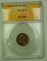 1931-S LINCOLN WHEAT CENT 1C ANACS MINT STATE 60 DETAILS RECOLORED WW