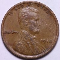 EXTRA FINE /AU 1918 LINCOLN WHEAT CENT PENNY        J6SN