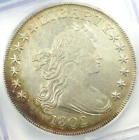 1802 DRAPED BUST SILVER DOLLAR $1 COIN BB-242 - CERTIFIED ICG AU50 DETAILS