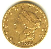 1864 P $20 GOLD XF  /AU DOUBLE EAGLE BEAUTIFUL COIN VERY SCA