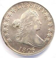 1806/5 DRAPED BUST HALF DOLLAR 50C OVERDATE - CERTIFIED ANACS EXTRA FINE 40 DETAIL EF40