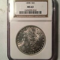 1898 MORGAN SILVER DOLLAR NGC MINT STATE 63 2