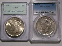 TWO 2 PEACE SILVER DOLLARS $1 PCGS CERTIFIED 1923 MINT STATE 63 & 1926-S AU50