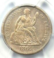 1867-S SEATED LIBERTY DIME 10C - PCGS EXTRA FINE  DETAILS -  CIVIL WAR DATE COIN