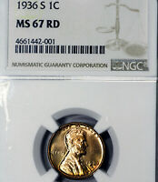 1936-S MINT STATE 67 RD RED LINCOLN WHEAT CENT 1C, NGC GRADED