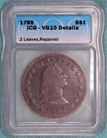 1795 VG-10 DETAILS FLOWING HAIR SILVER DOLLAR 2 LEAVES TWO