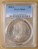 1890 S MORGAN SILVER DOLLAR PCGS MINT STATE 62