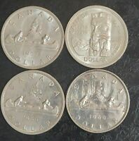 1957 1958 1959 1960 CANADA SILVER $1 DOLLAR LOT OF 4 COINS