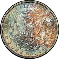 1880-S USA MORGAN SILVER DOLLAR NGC MINT STATE 64 TONED COLOR BU UNC GEM GORGEOUS DR