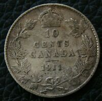 1911 CANADA TEN CENTS KING GEORGE V   SILVER COIN