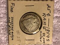 1859 S SEATED LIBERTY SILVER QUARTER DOLLAR  LOW MINTAGE COI