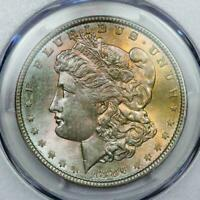 1886 MORGAN SILVER DOLLAR PCGS MINT STATE 63 ATTRACTIVE RAINBOW TONING COLORFUL BU DR