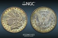 1889-S USA MORGAN SILVER DOLLAR NGC MINT STATE 62 COLOR TONED UNC BU CHOICE GEM DR