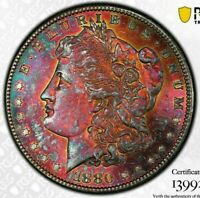 1880-S USA MORGAN SILVER DOLLAR PCGS MINT STATE 64 UNC MONSTER TONED GEM COLOR BU 3 DR