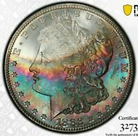 1882-S USA MORGAN SILVER DOLLAR PCGS MINT STATE 65 UNC BU TONED STUNNING COLOR DR