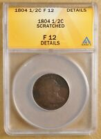 1804 DRAPED BUST HALF CENT ANACS F 12 DETAILS